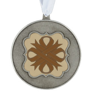 Brown Clover Ribbon Scalloped Pewter Ornament