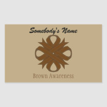 Brown Clover Ribbon Rectangular Sticker