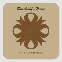 Brown Clover Ribbon Square Sticker