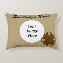 Brown Clover Ribbon Template Accent Pillow