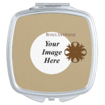 Brown Clover Ribbon Template Compact Mirror