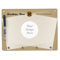 Brown Clover Ribbon Template Dry Erase Board With Keychain Holder