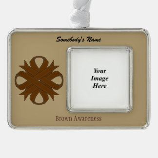 Brown Clover Ribbon Template (H-O) Silver Plated Framed Ornament