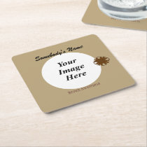 Brown Clover Ribbon Template Square Paper Coaster