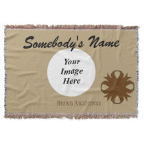 Brown Clover Ribbon Template Throw