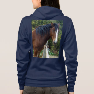 Brown_Clydesdale_Horse_Ladies_Navy_Fleece_Hoodie. Hoodie