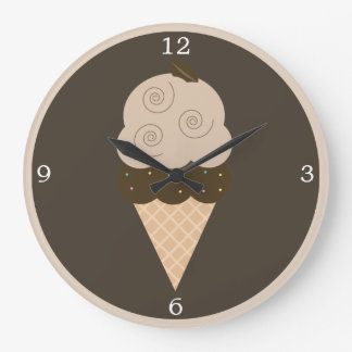 Brown Coffee Bean Ice Cream Cone Round Wallclock