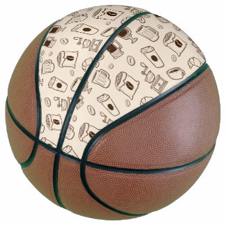 Brown coffee beans illustrated elements pattern basketball