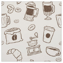 Brown coffee beans illustrated elements pattern fabric