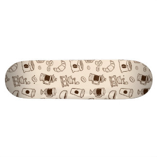 Brown coffee beans illustrated elements pattern skateboard deck
