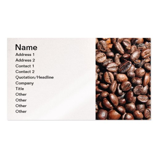 BROWN COFFEE BEANS PHOTOGRAPHY BACKGROUNDS FOODS Double-Sided STANDARD BUSINESS CARDS (Pack OF 100)