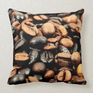 Brown Coffee Beans Photography Throw Pillow