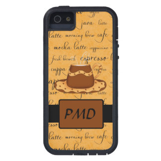 Brown Coffee Cup Art Gold Script Words Monogram Case For iPhone SE/5/5s