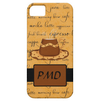 Brown Coffee Cup Art Gold Script Words Monogram iPhone SE/5/5s Case