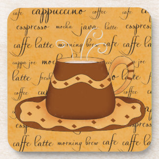 Brown Coffee Cup Art on Gold Script Words Coaster