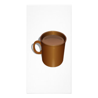 Brown Coffee Cup Custom Photo Card