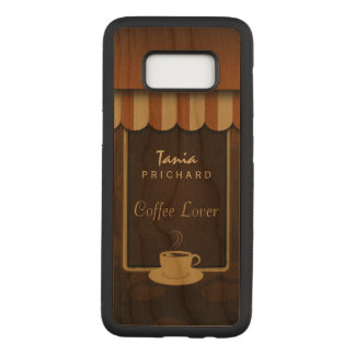 Brown Coffee Shop Front Cafe Lover Wooden Carved Samsung Galaxy S8 Case
