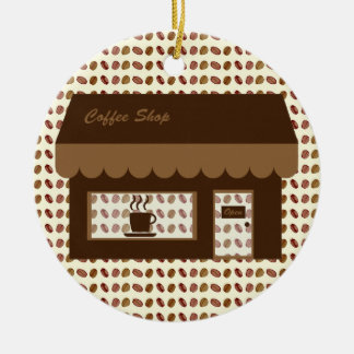 Brown Coffee Shop Double-Sided Ceramic Round Christmas Ornament