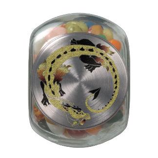 Brown Coiled Dragon Glass Jar