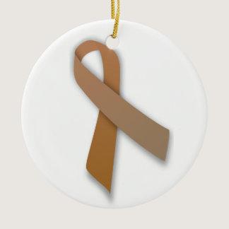 Brown Colorectal Cancer Awareness Ribbon Ceramic Ornament