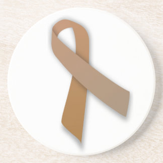 Brown Colorectal Cancer Awareness Ribbon Drink Coaster