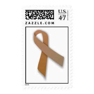 Brown Colorectal Cancer Awareness Ribbon Postage