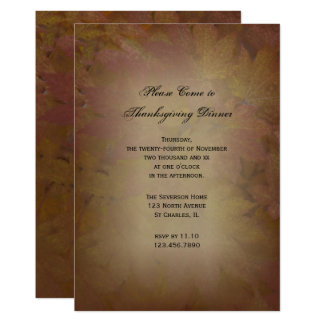 Brown Colored Leaves Thanksgiving Dinner Invite