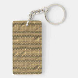 Brown colored trendy pattern rectangular acrylic keychains