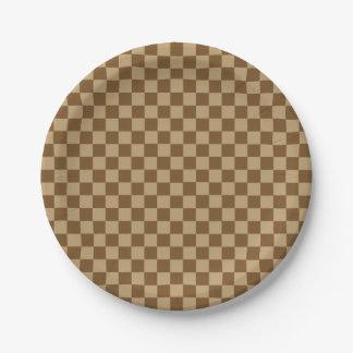 Brown Combination Classic Checkerboard Paper Plate