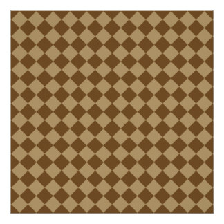 Brown Combination Diamond Pattern by STaylor Poster