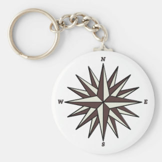 Brown Compass Rose Keychain
