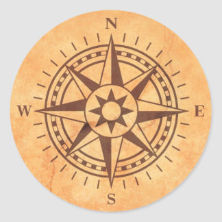 Brown compass rose on stone wall texture stickers