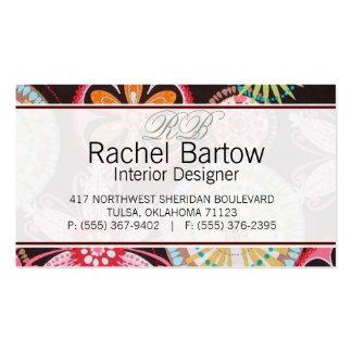 Brown con las flores coloridas tarjetas de visita