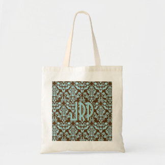Brown con monograma y damasco azul bolsa tela barata
