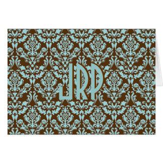 Brown con monograma y damasco azul tarjeta de felicitación