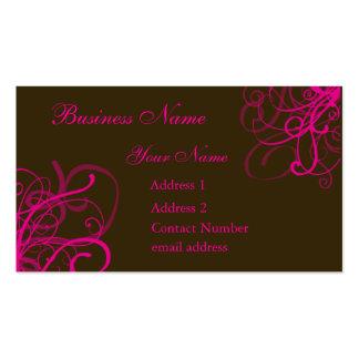 Brown con remolinos rosados vibrantes tarjetas de visita