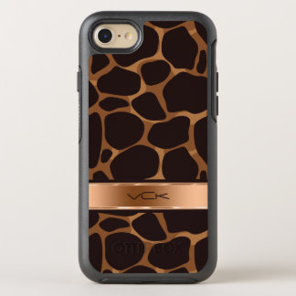 Brown Copper Modern Stylized Leopard Pattern OtterBox Symmetry iPhone 8/7 Case