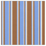 [ Thumbnail: Brown, Cornflower Blue, and Beige Colored Stripes Fabric ]