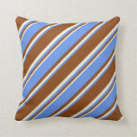 [ Thumbnail: Brown, Cornflower Blue, and Beige Colored Stripes Throw Pillow ]
