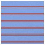 [ Thumbnail: Brown & Cornflower Blue Lines Pattern Fabric ]