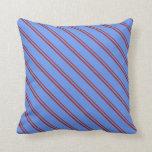 [ Thumbnail: Brown & Cornflower Blue Lines Pattern Throw Pillow ]