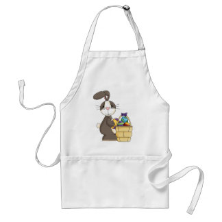 Brown Cottontail Bunny with Basket of Eggs Aprons