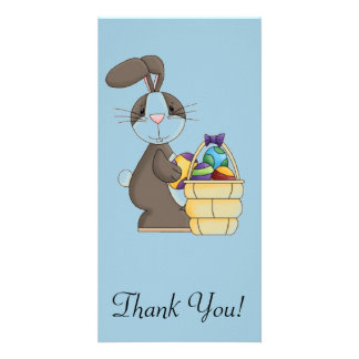 Brown Cottontail Bunny with Basket of Eggs Card