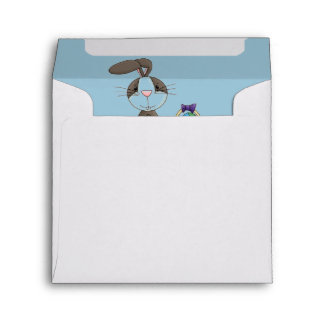 Brown Cottontail Bunny with Basket of Eggs Envelope