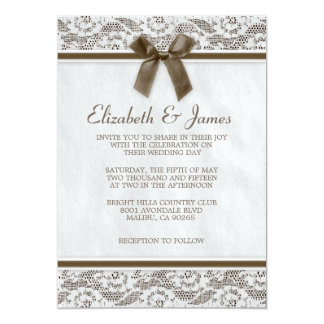 "Brown Country Lace Wedding Invitations 5"" X 7"" Invitation Card"