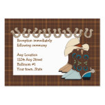 Brown Country Western Reception Cards Large Business Cards (Pack Of 100)