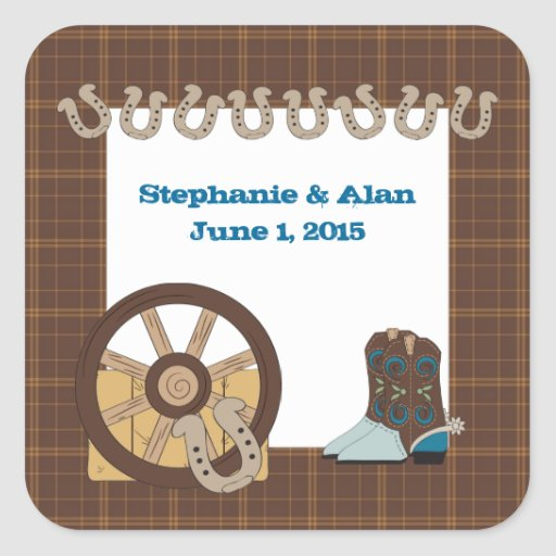 Brown Country Western Wedding Stickers