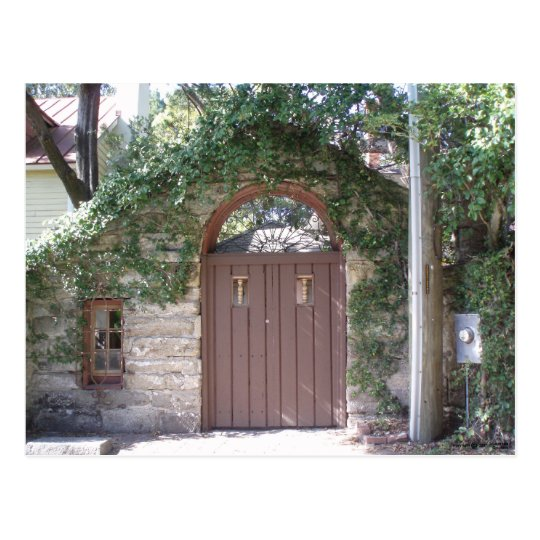 BROWN COURTYARD DOOR POSTCARD