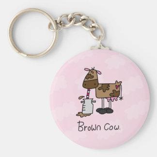Brown Cow Basic Round Button Keychain