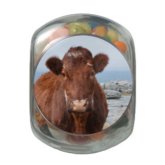 Brown Cow Glass Candy Jar